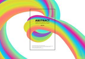 Forma fluida vibrante astratta di colore astratto 3D su sfondo bianco. Movimento della forma liquida di colore. vettore