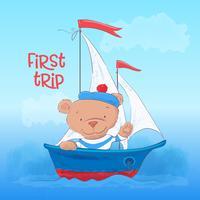 Manifesto della cartolina di un giovane orso carino su un battello a vapore in stile cartone animato. Disegno a mano vettore