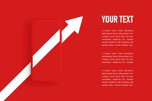Modello di smartphone opaco rosso, illustrazione vettoriale