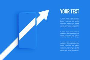 Modello di smartphone opaco blu, illustrazione vettoriale