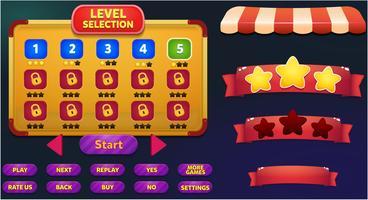 Livelli la scena del menu di gioco di selezione con pulsanti, barra di caricamento e stelle vettore