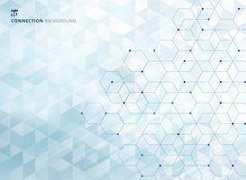 Gli esagoni astratti con i nodi digitali geometrici con le linee ed i triangoli geometrici dei punti modellano il fondo e la struttura blu-chiaro di colore. Concetto di connessione tecnologia.