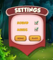 Impostazione della scena del menu pop-up ui gioco vettore
