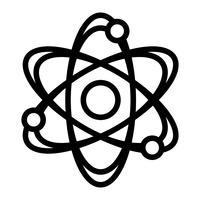 Icona di vettore di simbolo di scienza dinamica molecola atomo