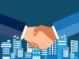 Agitando il concetto di design piatto mani. Stretta di mano, accordo commerciale. concetti di partnership. Due mani di agitazione uomo d'affari. Illustrazione vettoriale su sfondo blu città urbana.