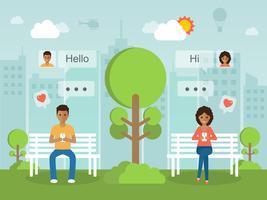 Chattare online tramite social network. vettore