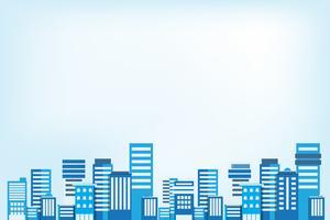 Sfondo di paesaggio urbano. Paesaggio urbano di stile piano di edifici. Architettura moderna. Paesaggio urbano. Illustrazione vettoriale copia spazio per testo, pubblicità, immagine e icona.