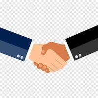 Agitando il concetto di design piatto mani su sfondo tranparent. Stretta di mano, accordo commerciale. concetti di partnership. Due mani di agitazione uomo d'affari. Illustrazione vettoriale