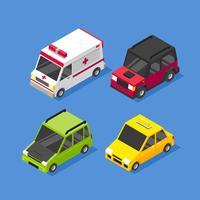 Set di clip art trasporto città isometrica