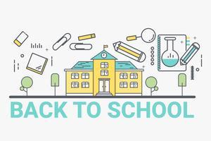 Bentornati al concetto di scuola. Design in stile arte linea sottile per banner sito Web tema idea educazione.