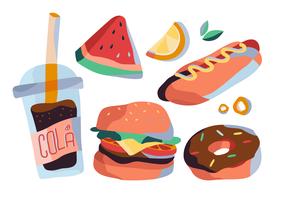 Insieme piano dell'illustrazione di vettore dell'alimento di estate