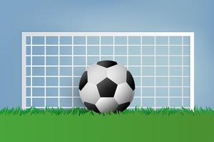 Calcio su erba verde. stile di arte cartacea.