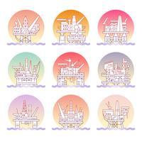 Set di icone della piattaforma petrolifera.