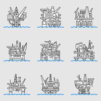 Piattaforma petrolifera offshore. vettore