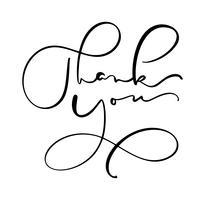 Testo vettoriale vintage disegnato a mano Grazie. Isolato su sfondo bianco Illustrazione di lettering calligrafia per matrimonio, cartolina d'auguri, tag