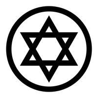 Stella a sei punte stella di David ebraica in nero con icona di vettore stile ad incastro