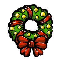 Icona festiva di vettore dell'arco della corona di festa festiva di Natale