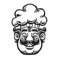 cartone animato sorridente del cuoco unico