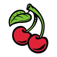 Cartoon Cherry Fruit sul gambo verde con foglia vettore