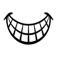 Icona di vettore di grande sorriso felice del fumetto Toothy