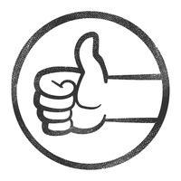 Mano del fumetto che fa i pollici positivi sul gesto vettore