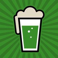 Icona di vetro verde birra irlandese verde pinta vettore