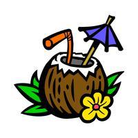 Illustrazione tropicale della bevanda della noce di cocco