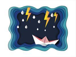 Leadership e successo per raggiungere il concetto di obiettivo, in barca contro il mare pazzo e fulmine in tempesta.