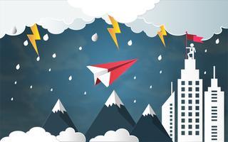 Concetto di successo di direzione, volo dell'aereo rosso contro il maltempo e colpo di fulmine in tempesta.