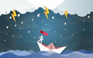 Concetto di successo di direzione, uomo sulla bandiera superiore della tenuta con la barca contro il mare pazzo e il fulmine in tempesta.