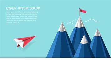Concetto di successo della direzione, volo dell'aereo rosso sul cielo che si dirige alla montagna con una bandiera sulla cima.
