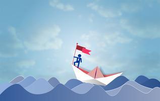 Concetto di direzione e di successo, uomo d'affari sulla bandiera superiore della tenuta con la barca a vela che si muove in un mare.