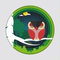 L'arte di carta scolpisce dell'uccello (gufo rosso) sul ramo di albero in foresta alla priorità bassa di notte.