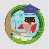 Concetto di educazione e apprendimento, insegnante di gufo con cappello di laurea, lancio di razzi spaziali e icone della conoscenza.