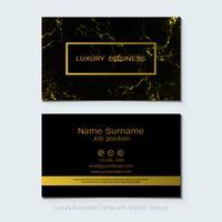 Modello di biglietti da visita di lusso, Banner e copertina con struttura in marmo e dettagli lamina d'oro.