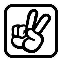 Illustrazione di vettore del fumetto del segno di pace della mano