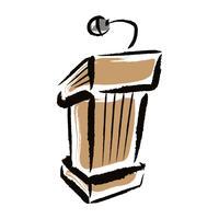 Presentazione del podio per conferenze o public speaking - grafica vettoriale