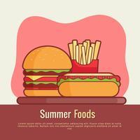 Vettore di alimenti estivi