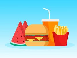 Hamburger con patatine fritte Anguria e bevanda cola durante la stagione estiva vettore