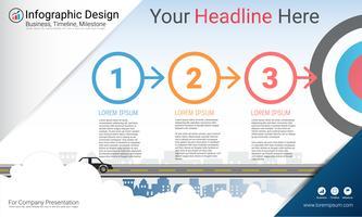 Rapporto infografica aziendale, cronologia di Milestone o mappa stradale con opzioni del diagramma di flusso del processo 3. vettore