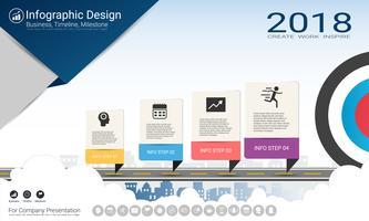 Rapporto infografica aziendale, cronologia di Milestone o mappa stradale con opzioni del diagramma di flusso Process 4. vettore