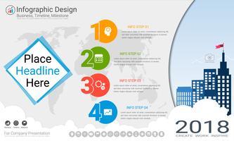 Modello di infographics di affari, linea temporale di Milestone o mappa stradale con le opzioni del diagramma di flusso 4 del processo vettore