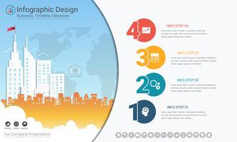 Modello di infographics di affari, linea temporale di Milestone o mappa stradale con le opzioni del diagramma di flusso 4 del processo. vettore