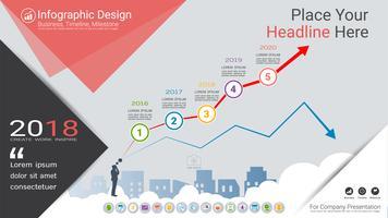 Grafico finanziario Modello di infografica, grafici di mercato in crescita o in calo o opzioni del diagramma di flusso Process 5.