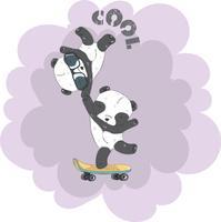 Carino piccolo Panda su uno skateboard vettore