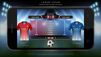 Calcio calcio mobile dal vivo, Scoreboard squadra A vs squadra B e statistiche globali trasmettono template di calcio grafico. vettore