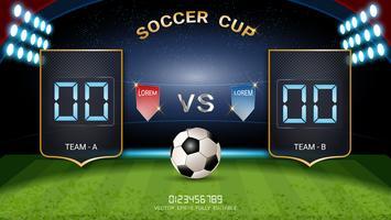 Tabellone segnapunti digitale, squadra di partite di calcio A vs squadra B, modello grafico di trasmissione di strategia.
