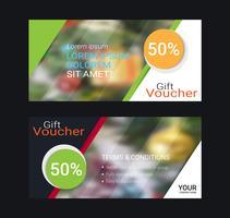 Buoni regalo e buoni, buono sconto o modello di banner web con sfondo sfocato.