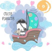carino piccolo pirata Panda vettore