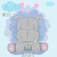 carino piccolo ippopotamo vettore